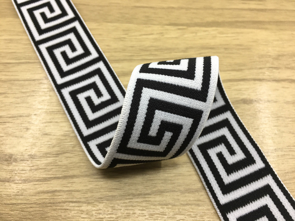 1 3/8 inch (35mm) Wide Black Wall Pattern White Plush Elastic Band,Waistband Elastic-1 Yard