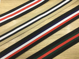 1.5 inch (40mm) Wide Colored Stripe with Ruffled Edge Plush Elastic Band - strapcrafts