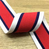 1.5 inch (40mm) Wide Colored Striped Plush White, Navy and Red - strapcrafts
