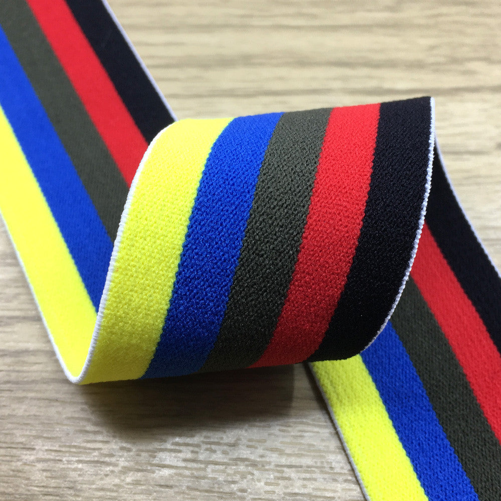 1.5 inch (40mm) Wide Colored Plush Colorful Striped Soft Elastic Band