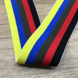 1.5 inch (40mm) Wide Colored Plush Colorful Striped Soft Elastic Band - strapcrafts