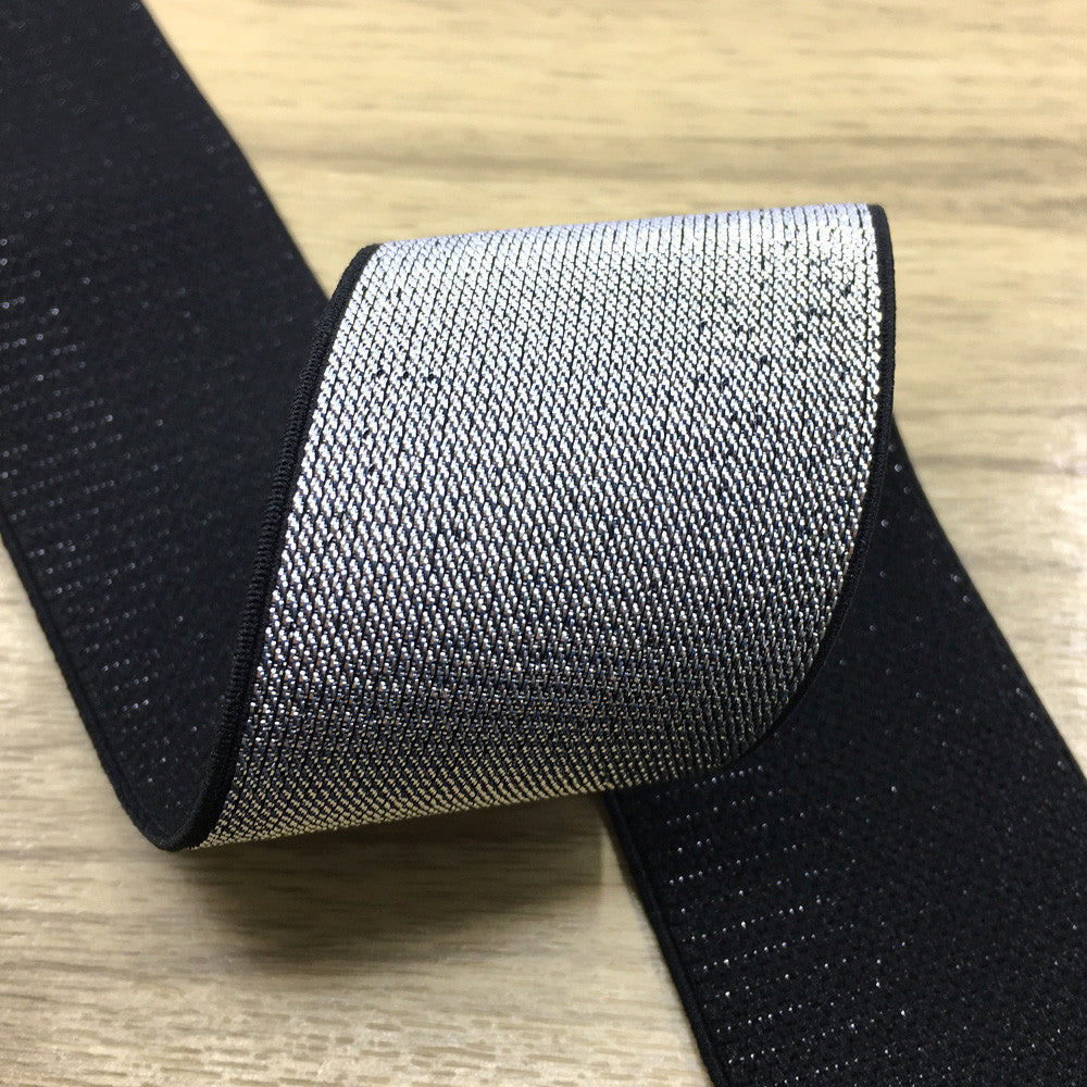 2 inch (50mm) Wide Silver Glitter Soft Black Elastic Bands - 1 Yard - strapcrafts