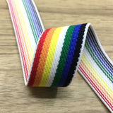 1 inch (25mm) Wide Colored Plush Colorful Striped Blue Elastic Band - 1 Yard - strapcrafts