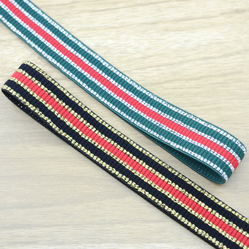 1 inch 25mm Colorfur  Glitter Striped Elastic Band , Colored Elastic Trim, Elastic Ribbon,  Elastic by the Yard,