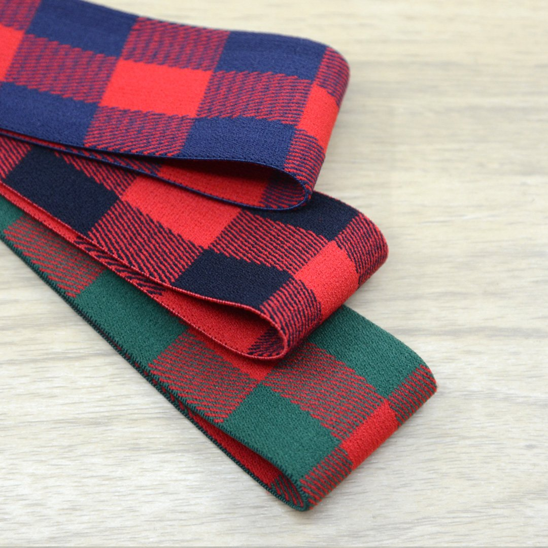 1.5 inch (40mm) Wide Plaid Plush Striped Elastic Band, Waistband Elastic, Sewing Elastic - strapcrafts