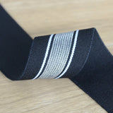 1.5 inch 40mm Wide Silver Glitter Striped Elastic Band , Colored Elastic Trim, Elastic Ribbon,  Elastic by the Yard, Sewing Elastic - strapcrafts