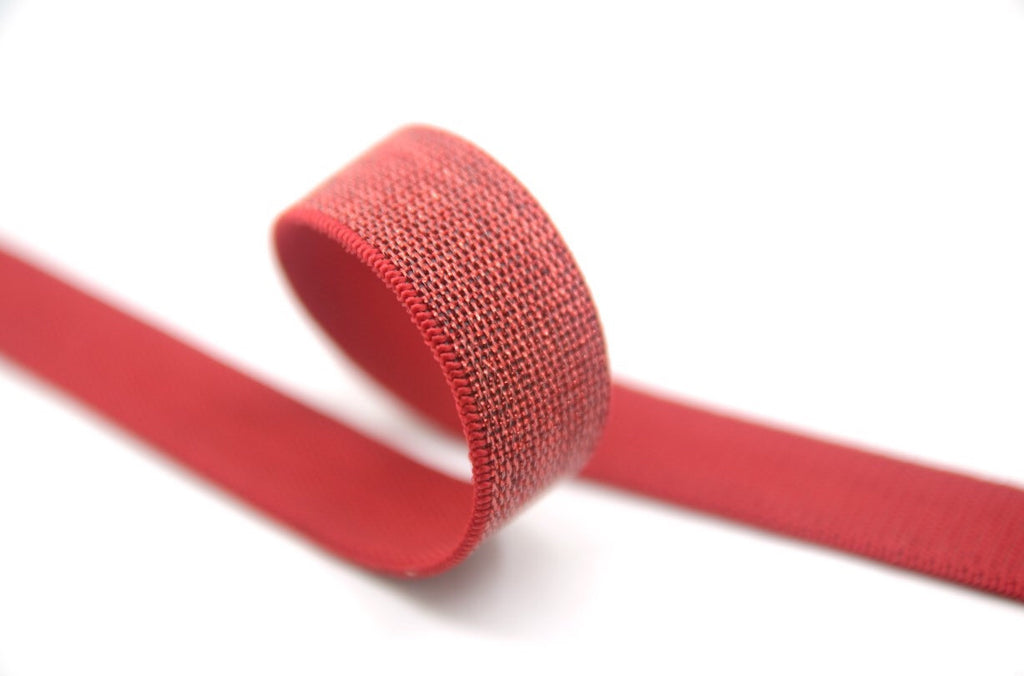 1 inch 25mm wide  Red Glitter Elastic by the yard