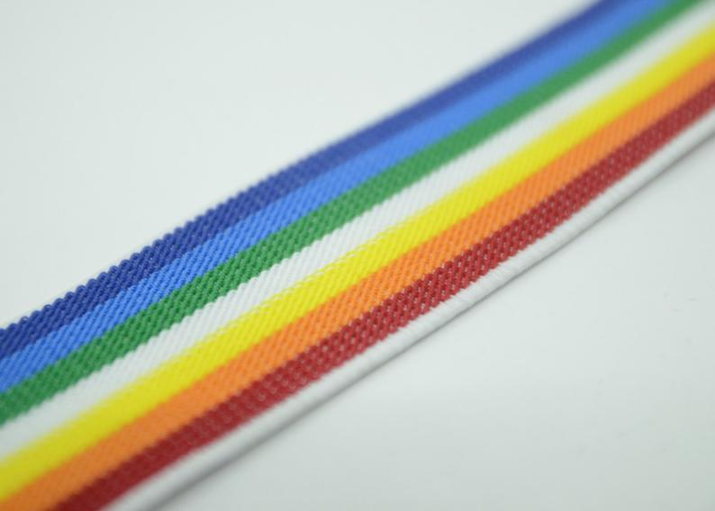 2 inch 50mm Colored Striped Elastic, Rainbow Color Elastic,Waistband Elastic,Sewing Elastic 22170