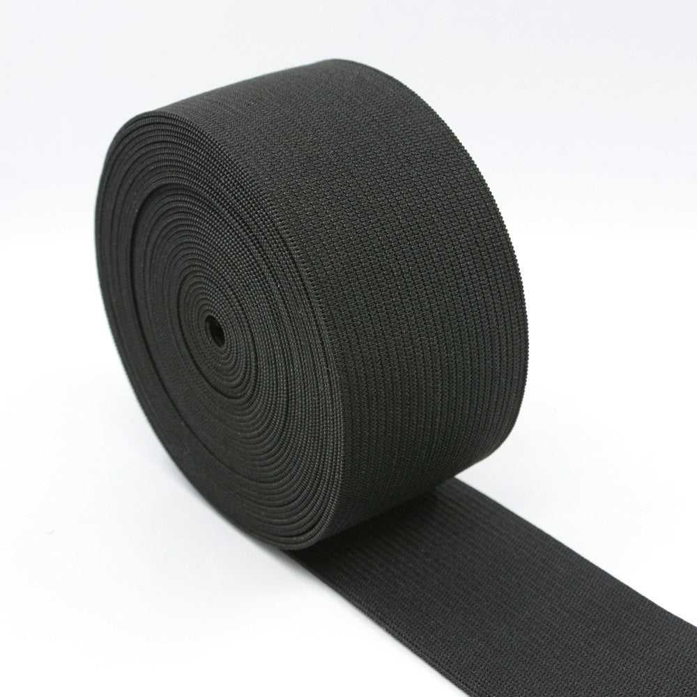 1.5 inch (40mm) Heavy Stretch Black Knit Elastic Band