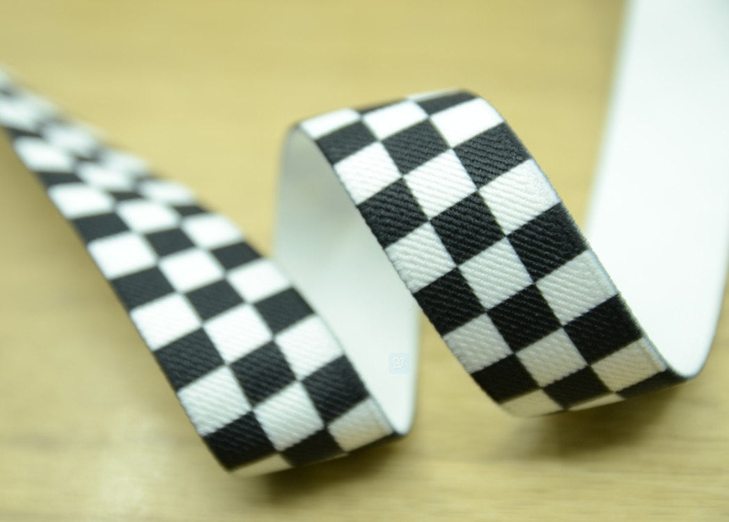 "1"" 25mm Wide Printed Elastic, Black and White Check Pattern,Stretch Elastic by the Yard - strapcrafts"