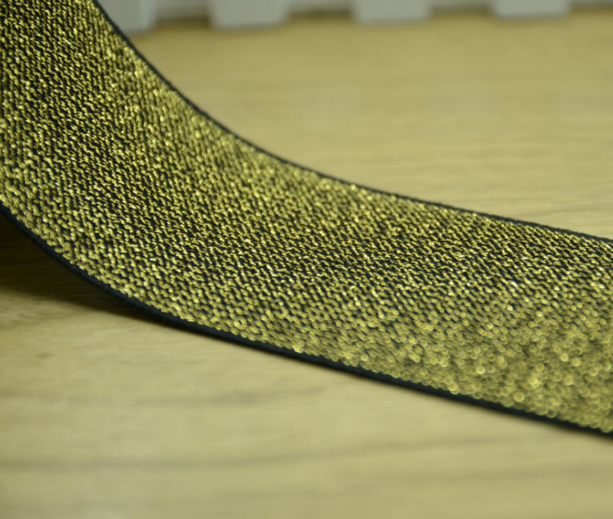 Glitter Elastic, 2 inch 50mm wide Elastic band, Sewing Elastic,Gold Elastic - strapcrafts