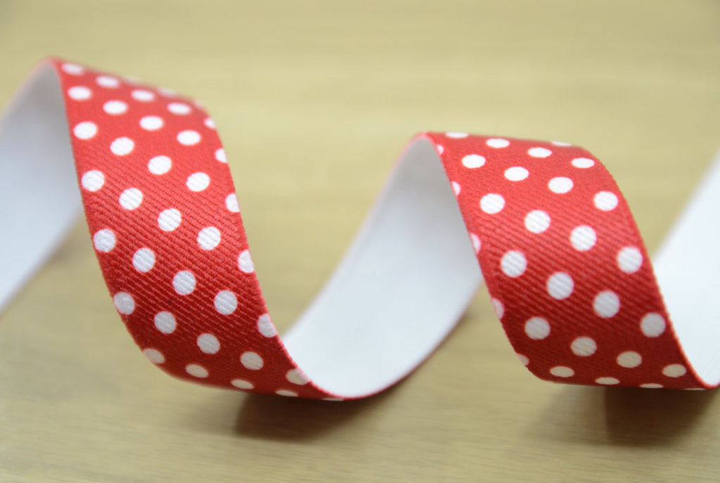"1"" 25mm Wide Red Polka Dots Printed Elastic by the Yard for Waistband and Suspenders Set"