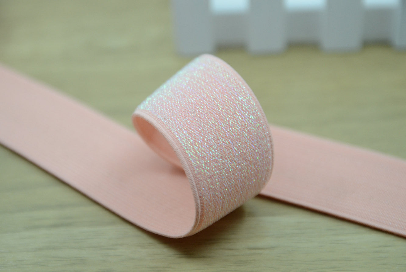 Glitter Elastic by the yard,1 1/2 inch 38mm Wide Waistband Elastic , Light Pink Elastic - strapcrafts