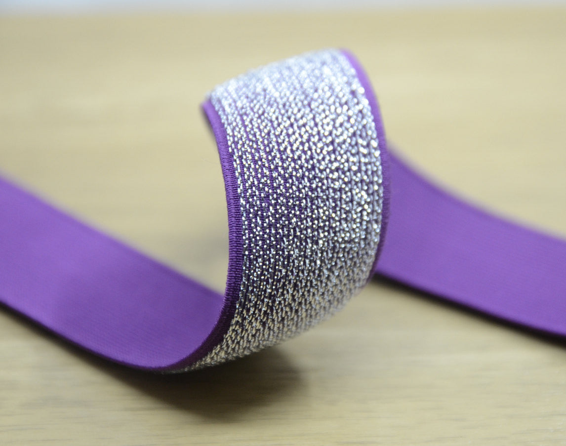 Glitter Purple Sewing Elastic ,Colored Elastic, 1 1/2 inch 40mm Waistband Elastic - strapcrafts