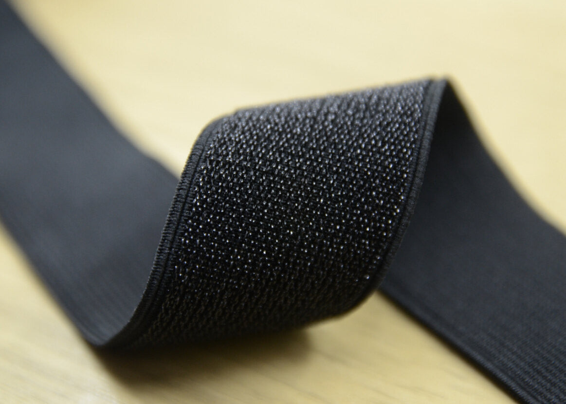 "1.5"" 38mm wide Waistband Glitter Elastic by the yard Black and White - strapcrafts"