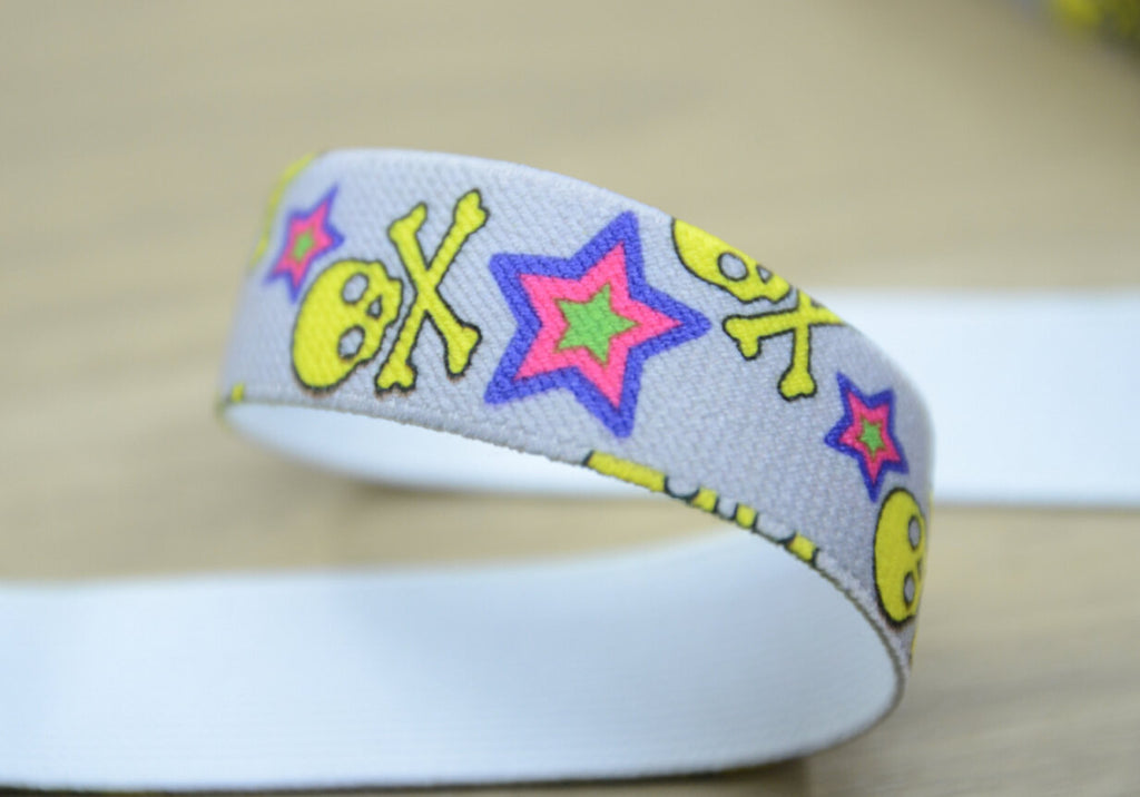 1 inch 25mm Printed Elastic by the yard for Waistband or Suspenders set.