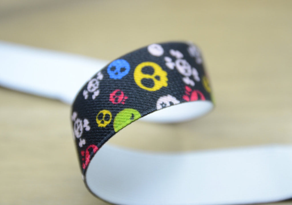 1 inch 25mm wide Printed Elastic by the yard for waistband or suspenders set, colorful skull pattern