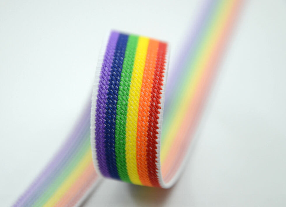 1 inch 25mm Wide Colored Striped Waistband Elastic by the Yard, Rainbow Color Elastic,Sewing Elastic