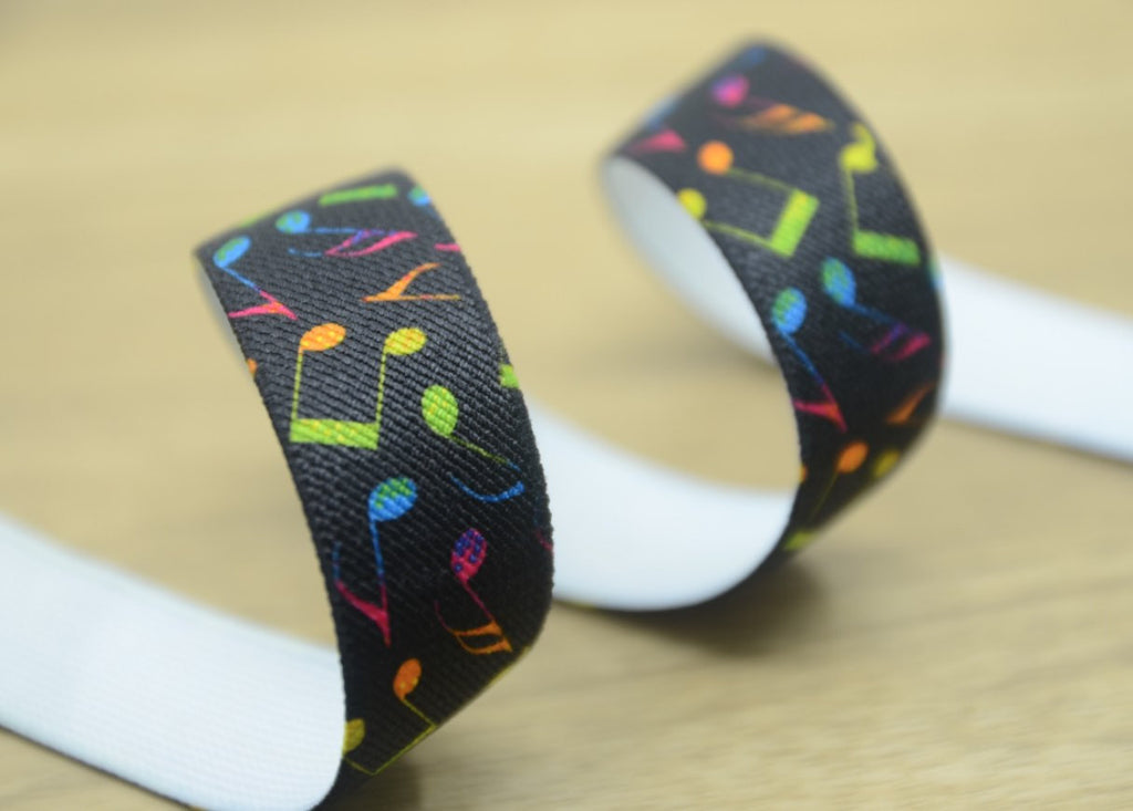 1 inch 25mm wide Printed Elastic by the yard for waistband and suspenders set, musical symbol