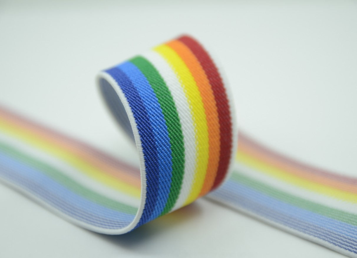 1 1/2 inch 38mm Wide Colored Rainbow Striped Stretch Elastic Band - strapcrafts