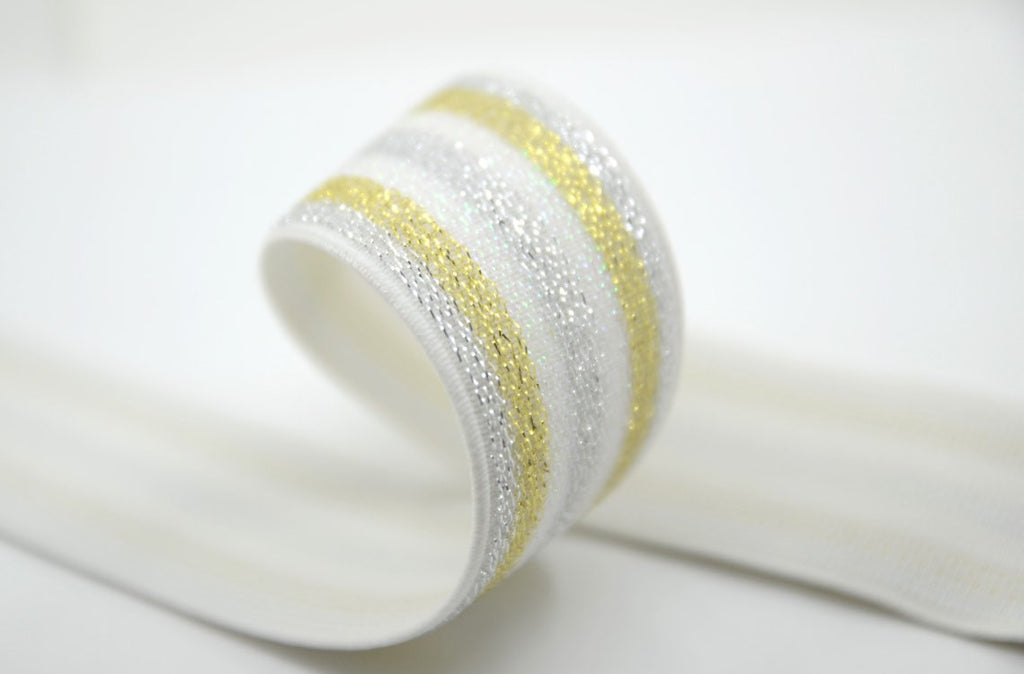 "1.5""  38mm Wide Striped Glitter Waistband Elastic by the Yard, Gold & Silver Glitter Elastic"