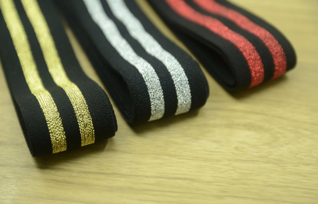 "1.5"" 38mm Wide Glitter Striped Waistband Elastic by the Yard, Black Plush Elastic"