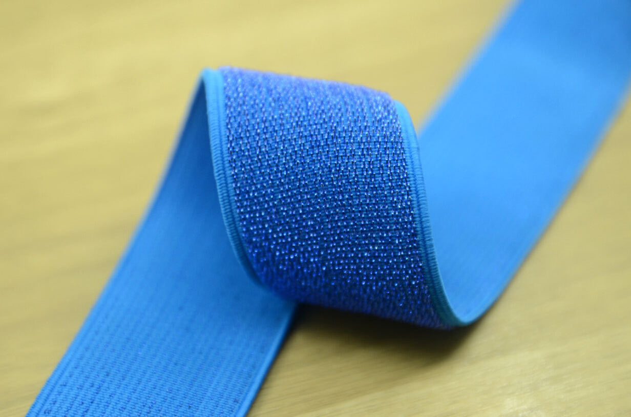 "1.5"" 38mm wide Royal Blue Glitter Waistband Elastic by the Yard - strapcrafts"