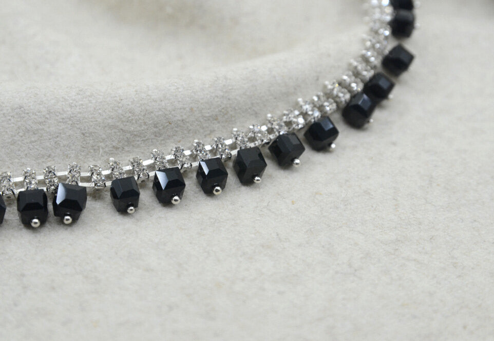 "5/8 "" Black Crystal Rhinestone ChainTrim, Pendant Chain, Rhinestone Necklace -1 Yard"
