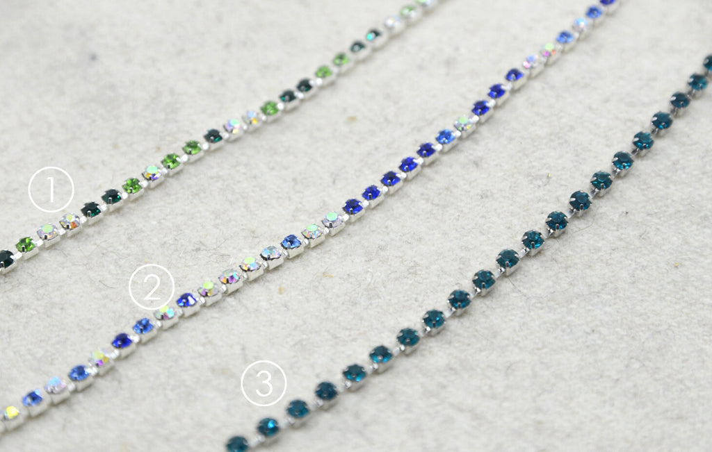 "Colorful Crystal Rhinestone Chain Trim, Wedding belt, Bridal Sash, Rhinestone Necklace,Bracelet, 1/8"" 2.5mm -1 Yard"
