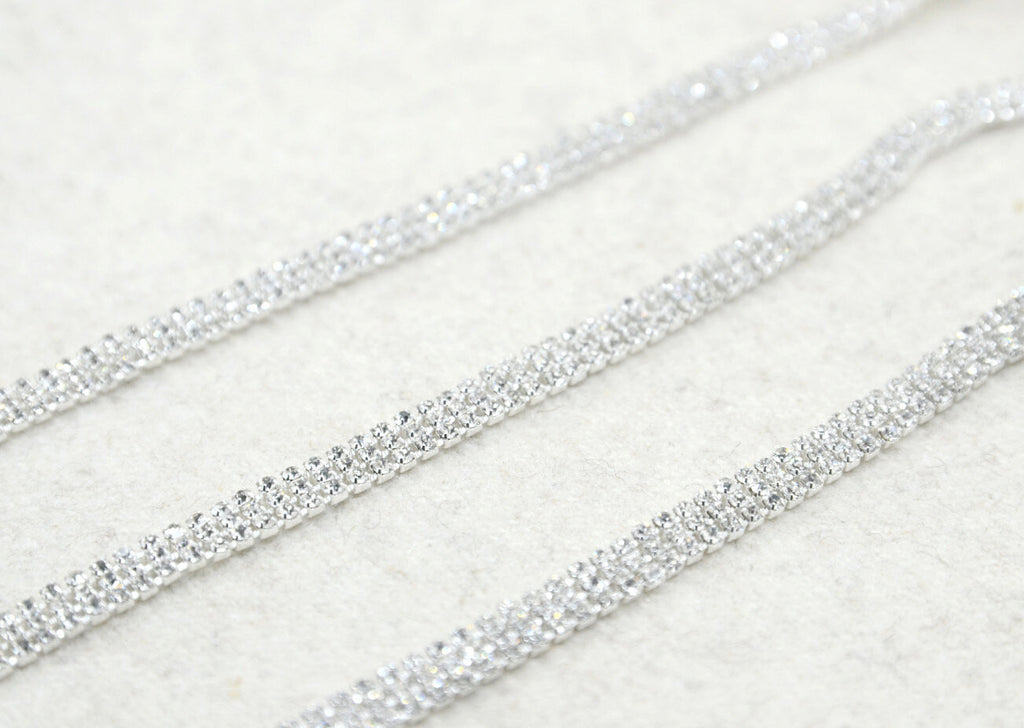 "1/4"" 12.5mm Crystal Rhinestone Chain Trim Three Rows, Wedding belt, Bridal Sash, Rhinestone Necklace,Bracelet-1 Yard"