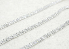 "1/4"" 12.5mm Crystal Rhinestone Chain Trim Three Rows, Wedding belt, Bridal Sash, Rhinestone Necklace,Bracelet-1 Yard - strapcrafts"