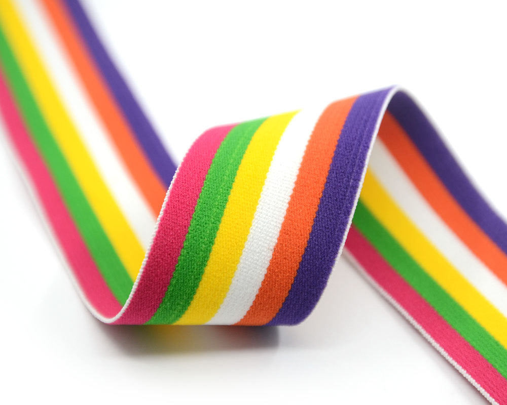 "1.5"" 38mm wide Colorful Striped Plush Comfortable Elastic,Waistband Elastic,Soft Elastic, Elastic Band,Sewing Elastic By the Yard - strapcrafts"