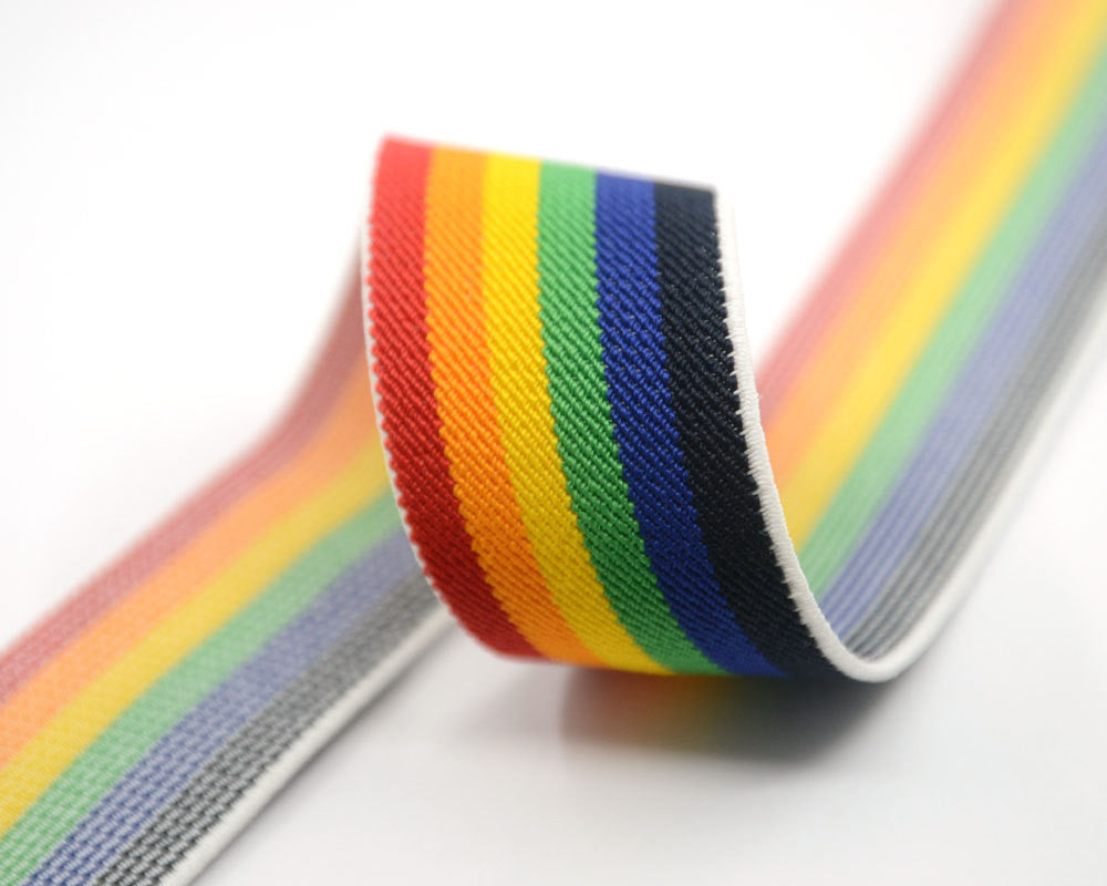 "1.5"" 38mm Wide Colored Striped Elastic Band, Waistband Elastic, Elastic Trim, Elastic Ribbon, Sewing Elastic,Stretchy Elastic-1 Yard - strapcrafts"