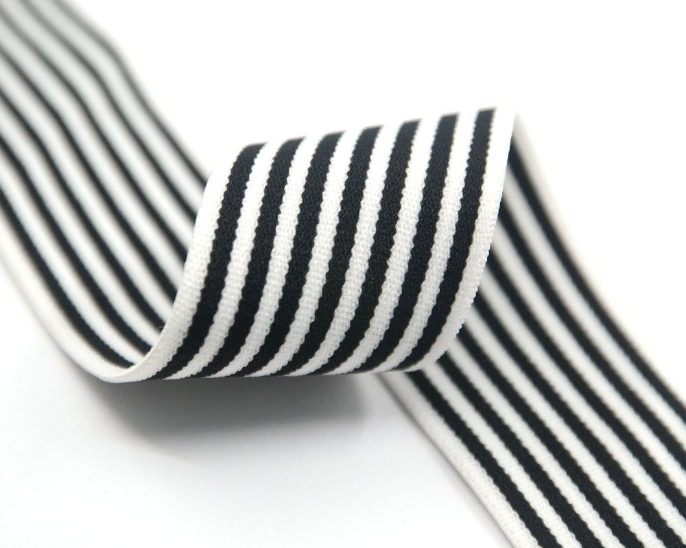"1.5"" 38mm wide Black Stripes Comfortable Plush White Elastic,Waistband Elastic,Soft Elastic, Elastic Band,Sewing Elastic By the Yard"