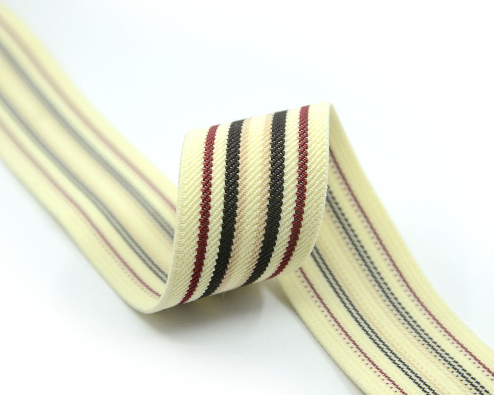 "1.5"" 38mm Beige Elastic with Multi Stripes, Waistband Elastic,  Elastic Ribbon, Sewing Elastic,Stretchy Elastic Band-1 Yard"
