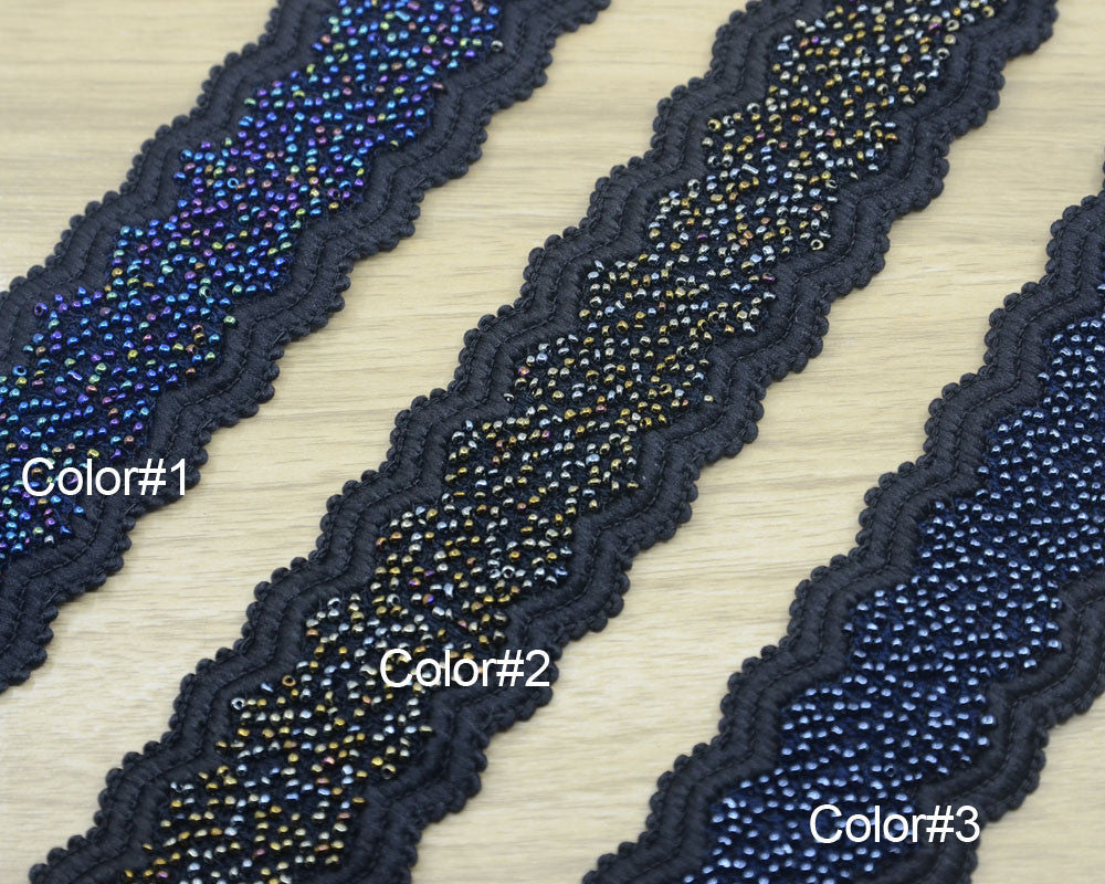 "2"" 50mm Bling Bling Wide Beaded Elastic,Waistband Elastic, Sewing Elastic by the yard,Belt Elastic,Shining Elastic,Stretch Black Elastic - strapcrafts"