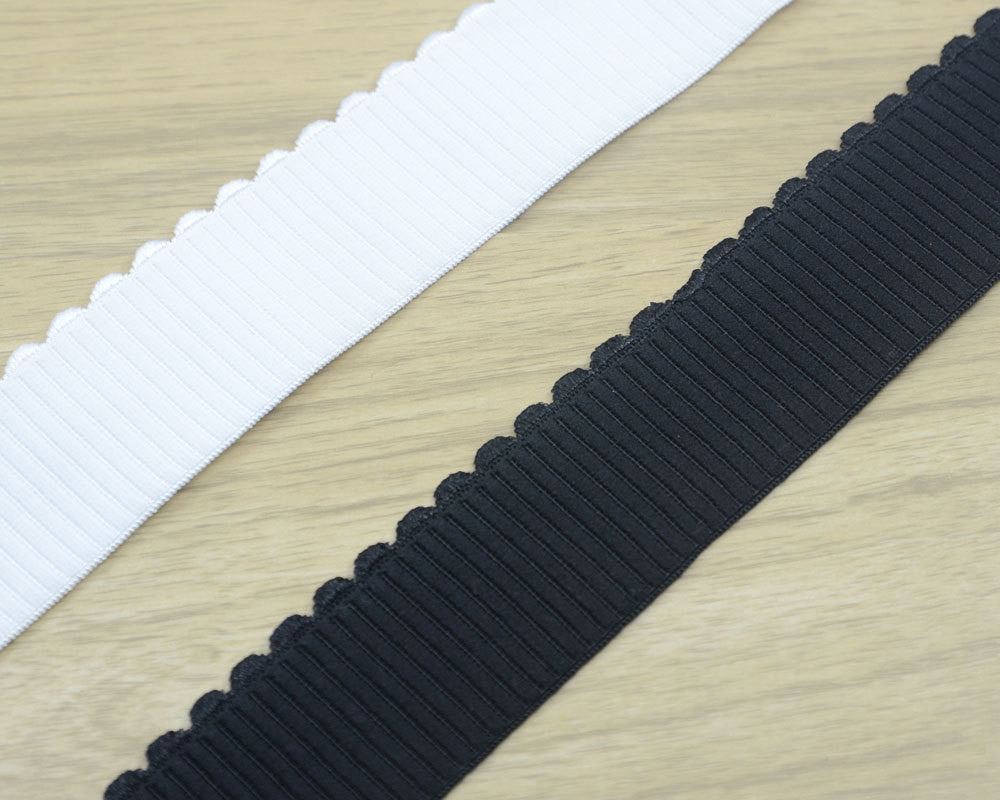 1.5inch 38mm wide Comfortable Black Plush Elastic , White Plush Elastic Band, Waistband Elastic,Sewing Elastic with Wavy Edge - strapcrafts
