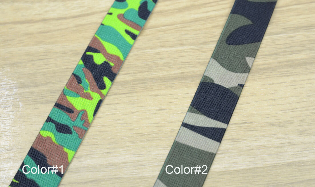 1 inch (25mm) wide Printed Camouflage Pattern Stretch Elastic Band - strapcrafts
