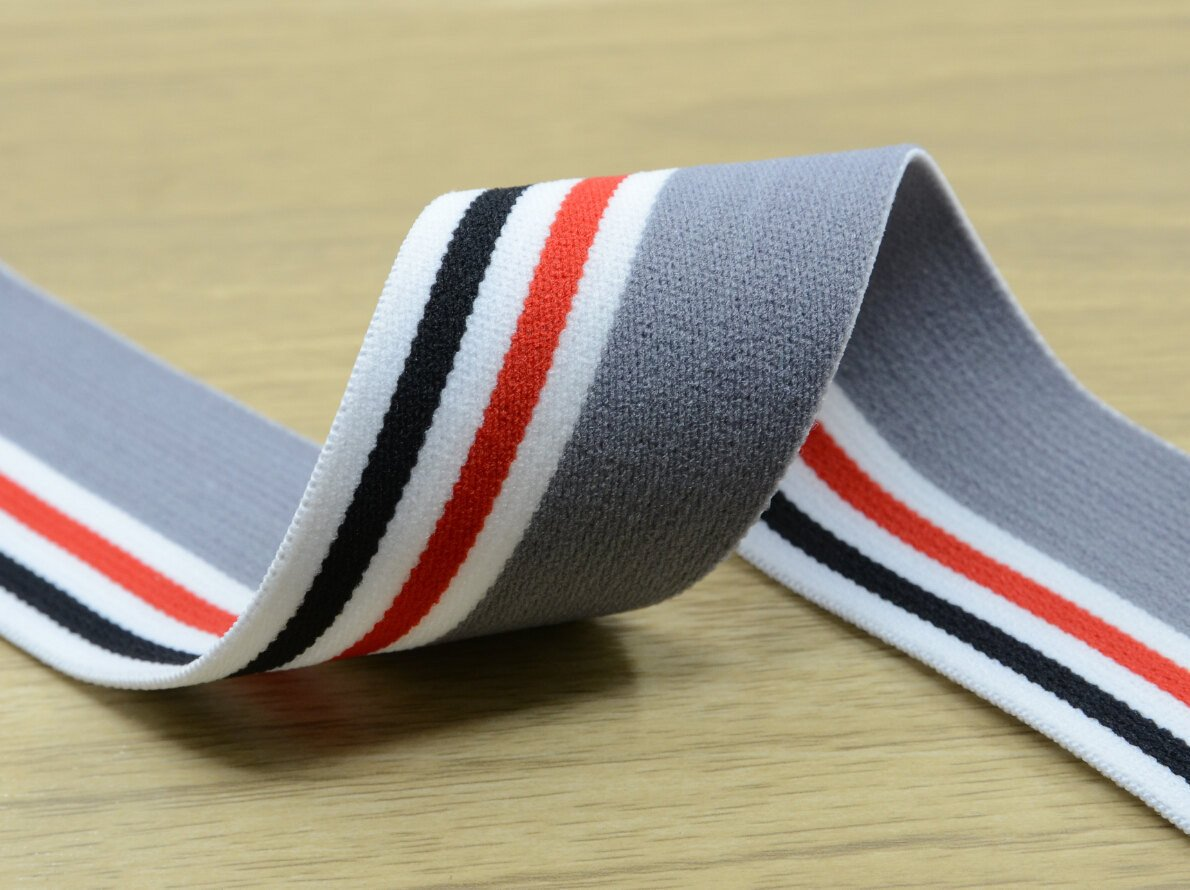 1.5 inch (40mm) Wide Colored Plush Striped Elastic Band, Waistband Elastic, Sewing Elastic - strapcrafts