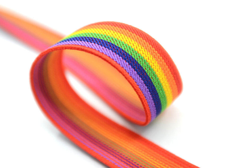 1 inch 25mm Colored Striped Elastic by the yard for Waistband and Suspenders