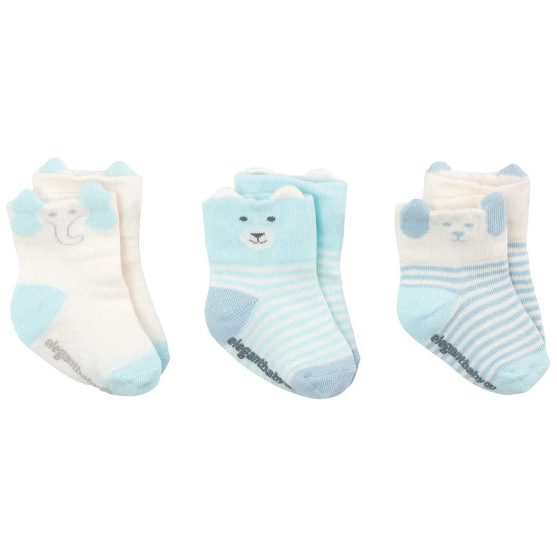 Elegant Baby - Organic Animal Baby Socks Boys 3 Pack