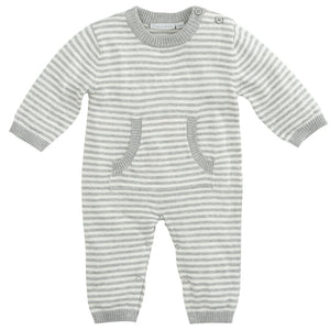 Elegant Baby - Stripe Knit Jumpsuit - Gray 0-6M
