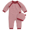 Elegant Baby - Red Stripe Jumpsuit with Hat