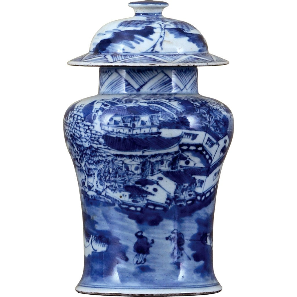 Classic Porcelain - BLUE AND WHITE SMALL WARRIOR JAR