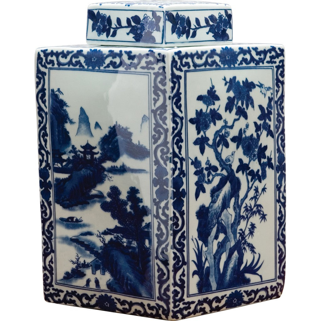 4. Classic Porcelain - BLUE AND WHITE SQUARE JAR