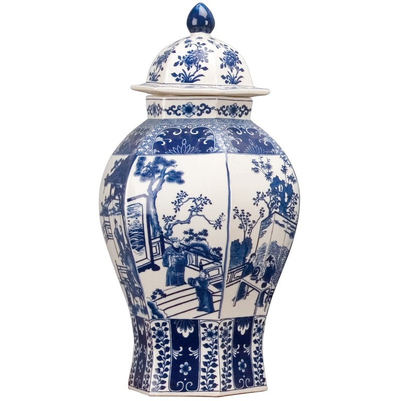 Classic Porcelain - BLUE AND WHITE HEX WARRIOR JAR