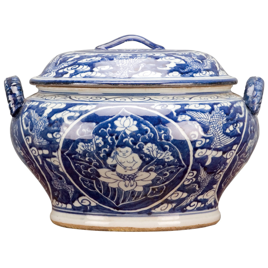 Classic Porcelain - BLUE AND WHITE ROUND BOX
