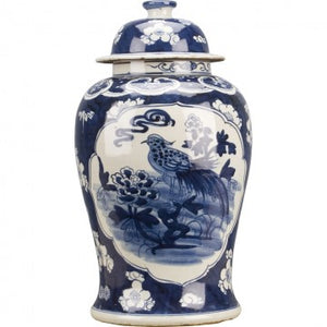 Classic Porcelain - BLUE AND WHITE TEMPLE JAR BLUE AND WHITE BIRDS