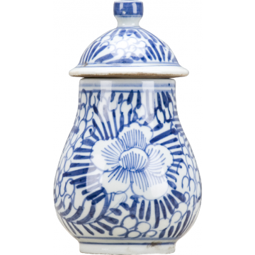 Classic Porcelain - BLUE AND WHITE LIDDED JAR ROLLING PETALS