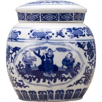 Classic Porcelain - BLUE AND WHITE ROUND LIDDED BOX